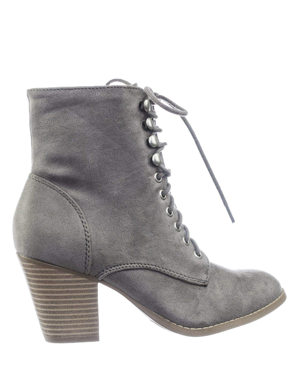 Wanda SGreySu Women's Lace Up Military Combat Chunky Block High Heel Ankle bootie