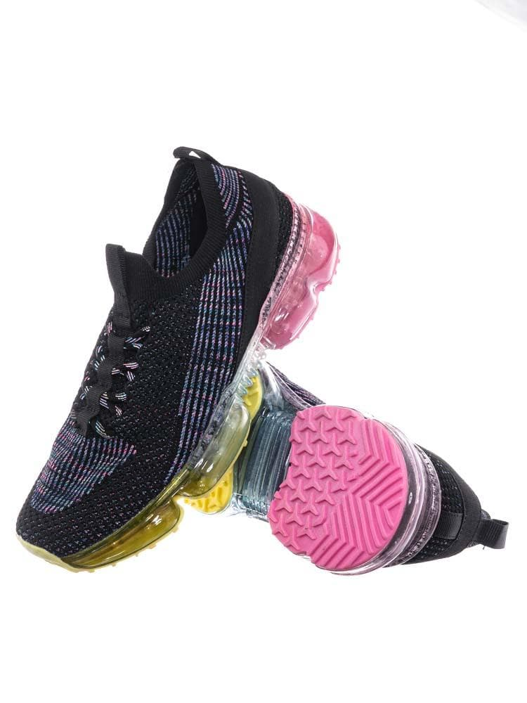 Black Multi / Flow19 Stretch Elastic Mesh Sneaker - Festival Lace Up Rubber Air Bubble Cushion