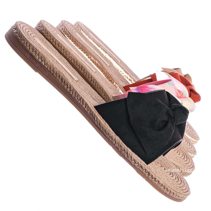 Black / Athena12 Espadrille Woven Knotted Bow Slides - Jute Rope Weaved Slip On Sandal