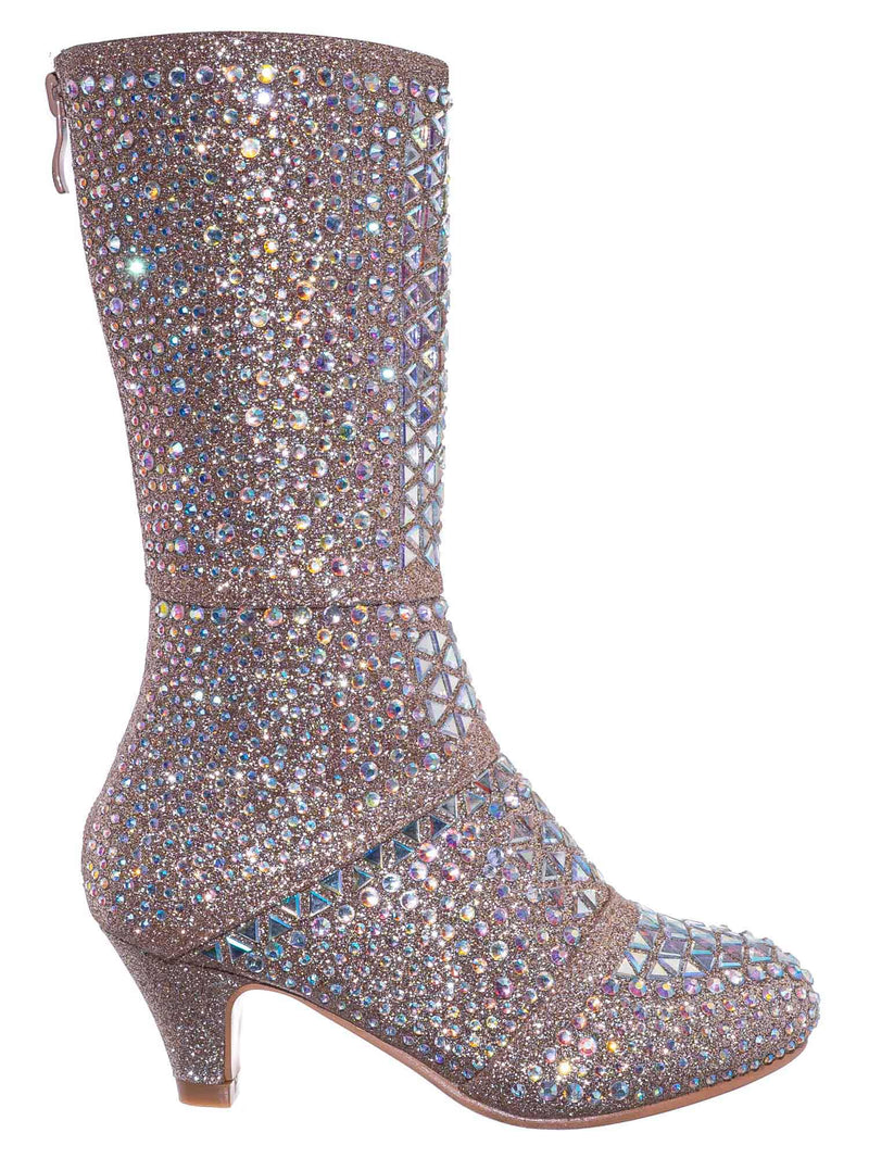 Champagne Gold / Event99K Kids Tall Rhinestone Crystal Glitter Boots - Girl Shimmering Dress Shoe