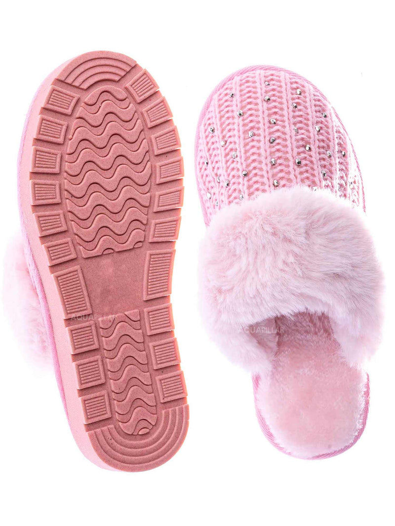 Pink Sweater / Snuggle06 Furry Flatbed Sweater Moccasin Slipper -Women Knitted Fur Winter Slide