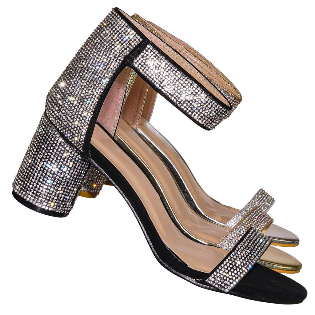 Column12 Rhinestone Embellished Sandal - Women Hook Loop Cylinder Block Heel