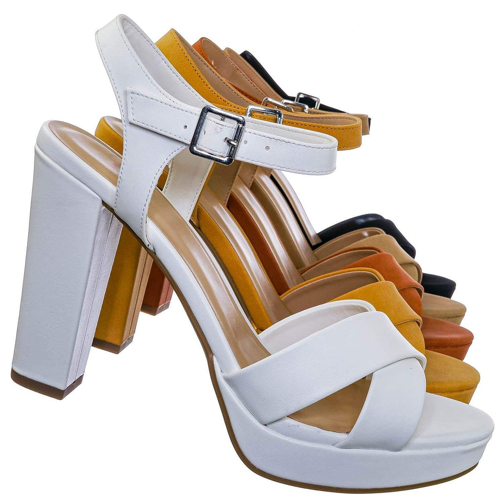 White Pu / Keeper High Heel Platform Sandal - Women Party Open Toe Pump