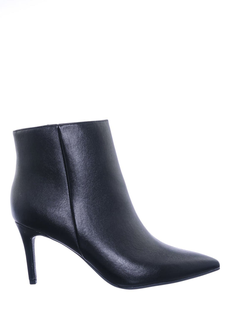 Black Pu / Acai Pointed Toe Ankle Bootie - Women High Heel Dress Shoes