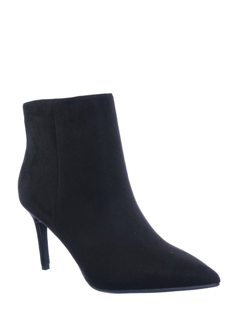 Black F-Suede / Acai Pointed Toe Ankle Bootie - Women High Heel Dress Shoes