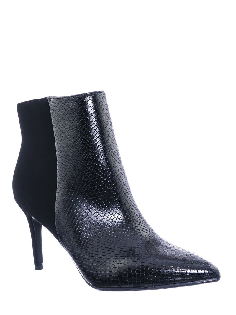 Black Snake Nubuck / Acai Pointed Toe Ankle Bootie - Women High Heel Dress Shoes