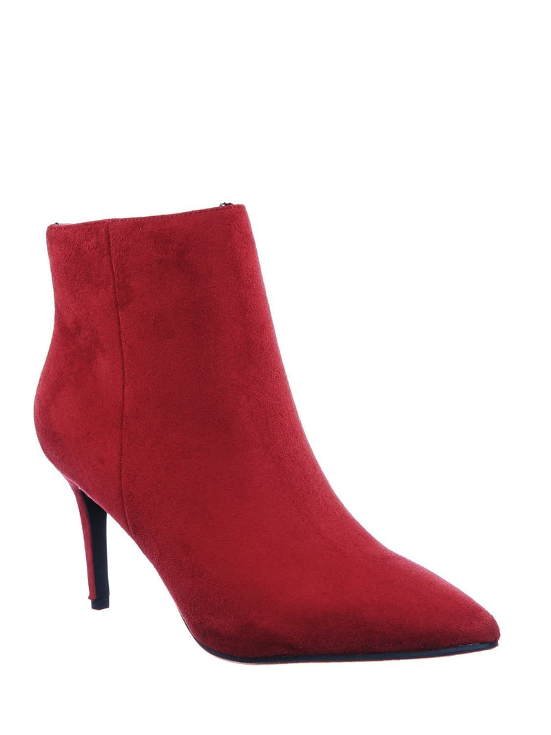 Brick Red / Acai Pointed Toe Ankle Bootie - Women High Heel Dress Shoes