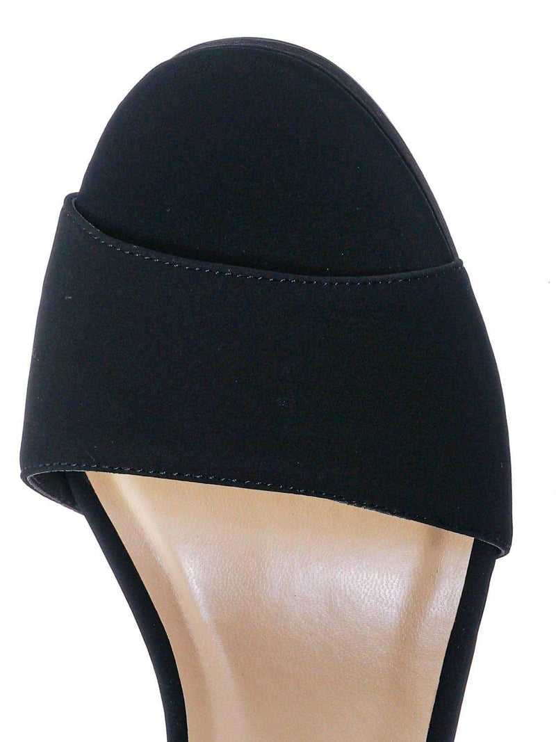 Black Nubuck / Adjure High Block Heel Dress Sandal - Women Platform Two Piece Ankle Strap Shoe