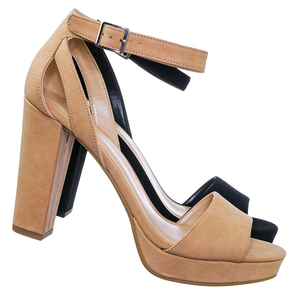 Adjure High Block Heel Dress Sandal - Women Platform Two Piece Ankle Strap Shoe