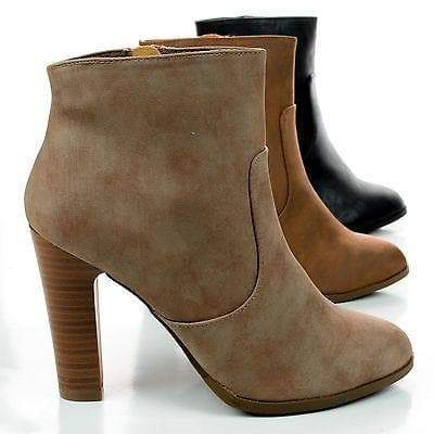 Admit By Delicious, Zip Up Stacked Heel Ankle Booties