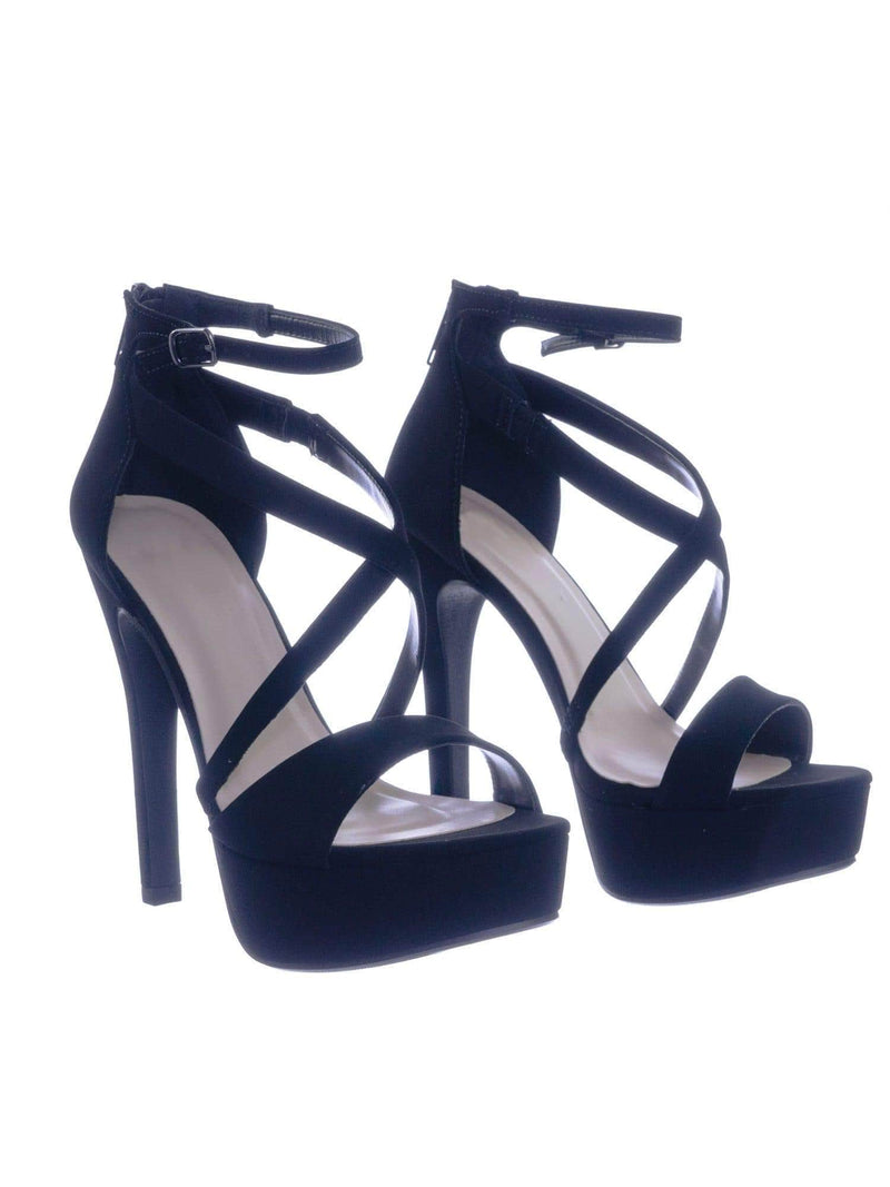 Airbag BlackNbPu High Heel Platform Open Toe Strappy Dress Sandal