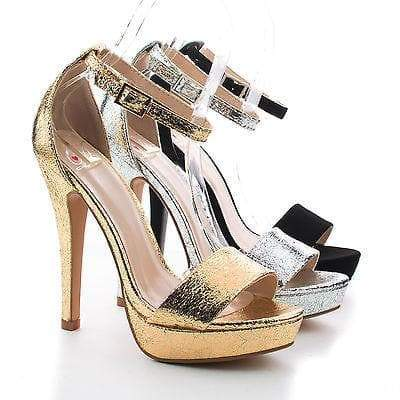 Aruba By Delicious, Open Toe Ankle Buckle Cuff Platform Stiletto Dress Heels