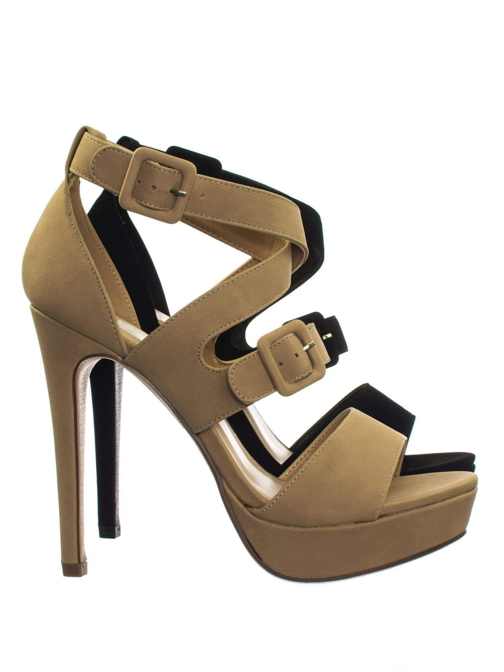 Blinky Natural High Heel Platform Open Toe Cage Dress Sandal w Double Buckles