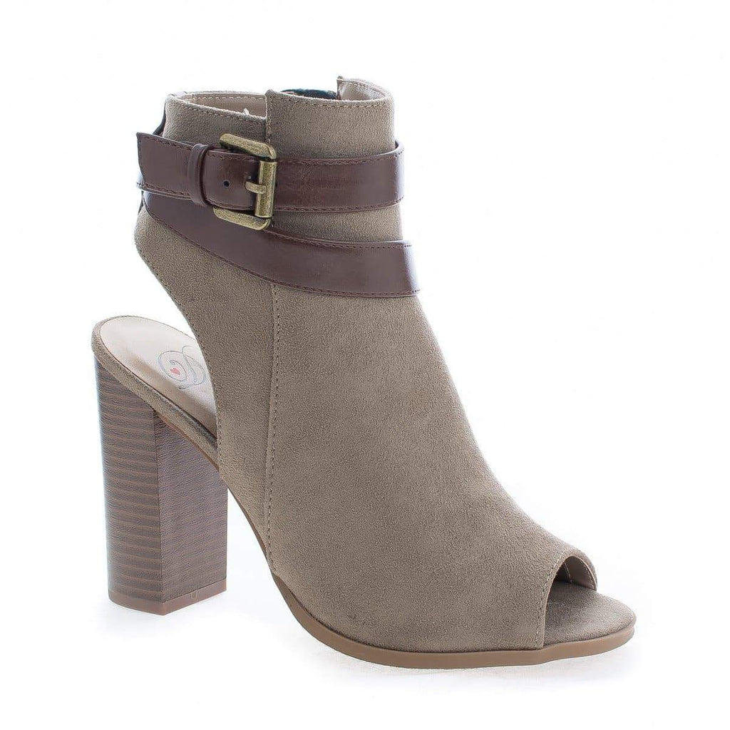 Bonfire Cement By Delicious, Peep Toe Ankle Buckle High Stacked Heel Booties