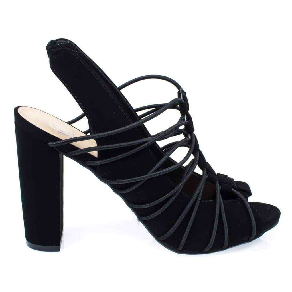 Branch Black By Delicious, Gladiator Elastic Cord ON Chunky Block Heel Sling back Peep Toe Pump