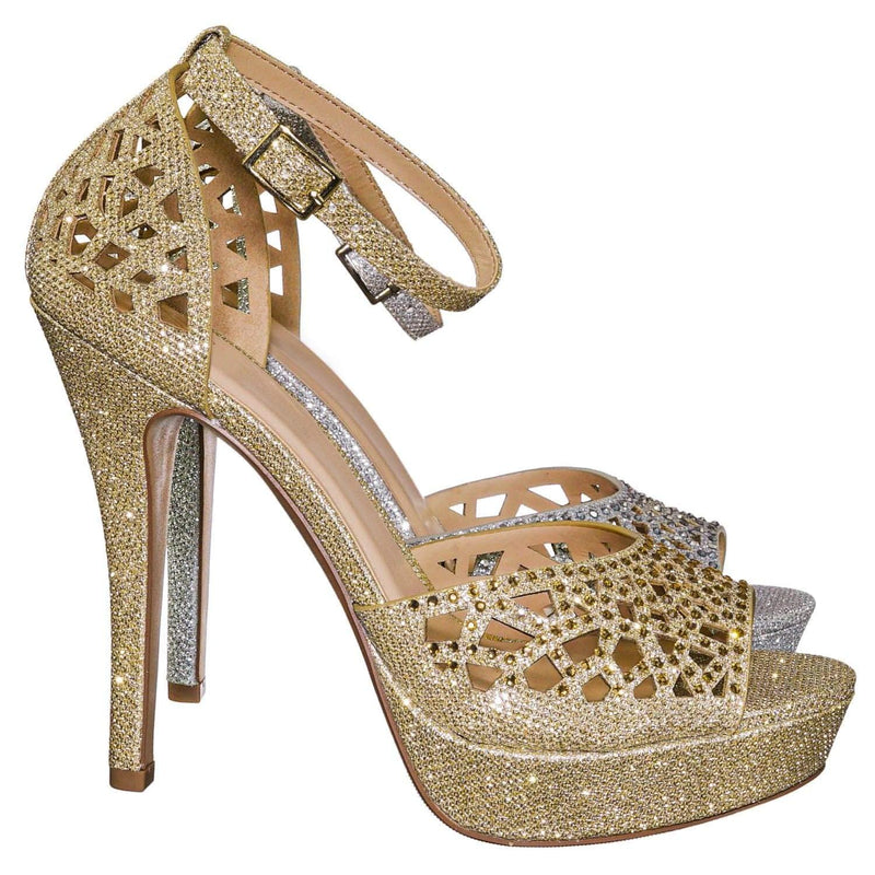 Gold Shimmer / Cadence Rhinestone Glitter High Heel Sandal - Women Open Toe Laser Cutout Shoes