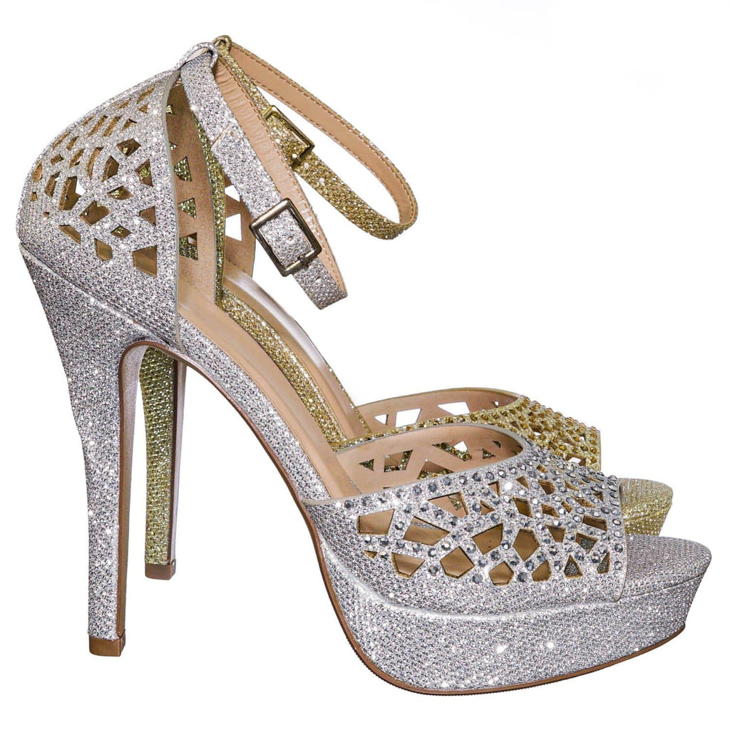 Cadence Rhinestone Glitter High Heel Sandal - Women Open Toe Laser Cutout Shoes
