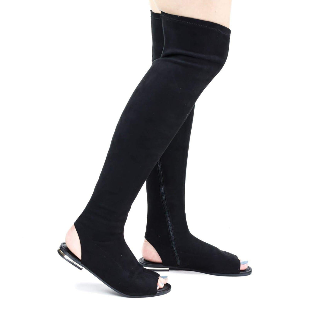 Cure09 Open Knee Flat Boots w Metal Stripe, Open Toe & Heel. Elastic Back