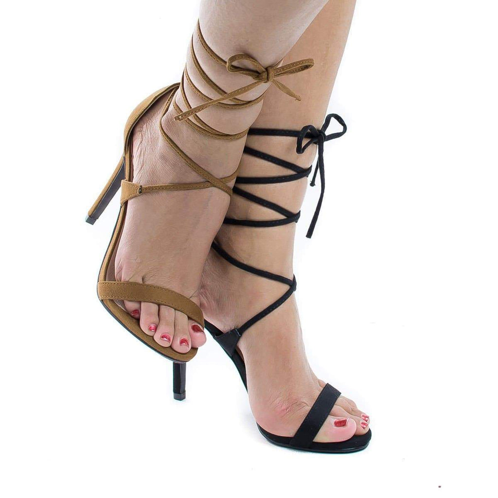 Digit Black By Delicious, Open Toe Lace Up Leg Wrap Stiletto High Heel Sandals