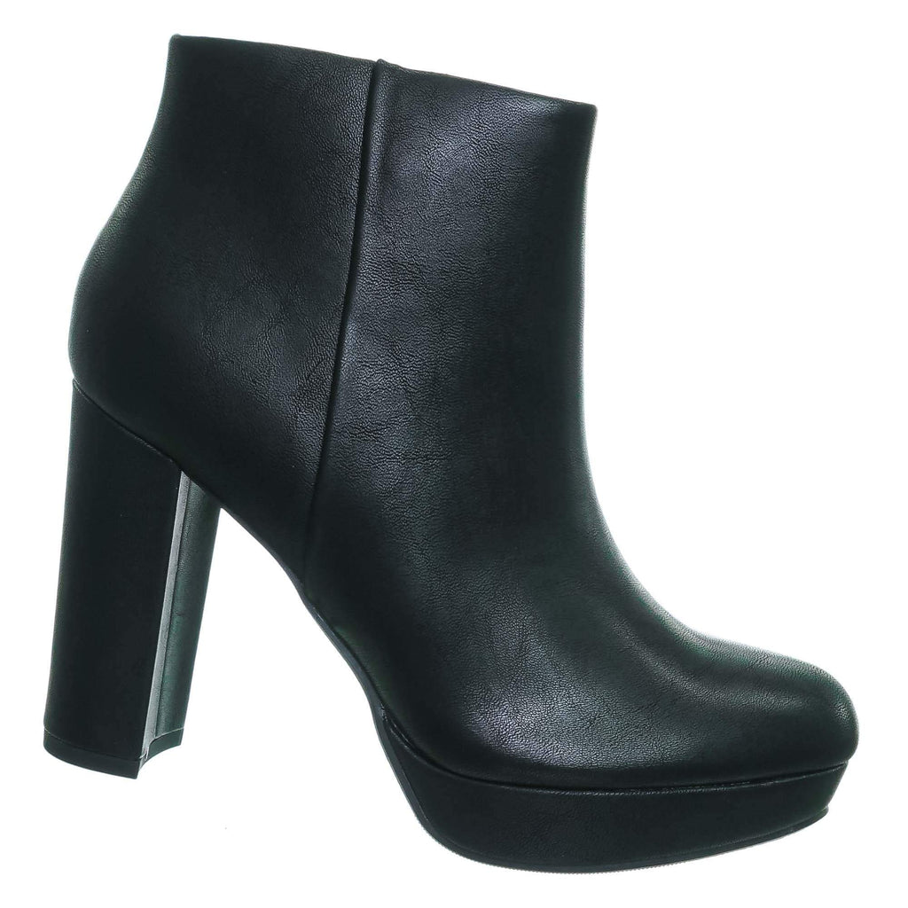 Black Pu / During Black Pu Block High Heel Ankle Bootie - Women Platform Ankle Boots