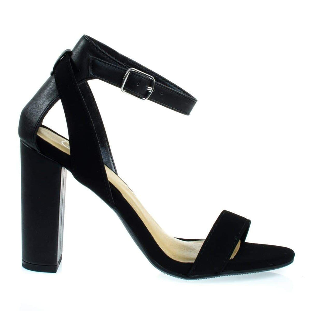 Econ Black By Delicious, Chunky Block Heel Sandal w Faux Leather / Combo Straps
