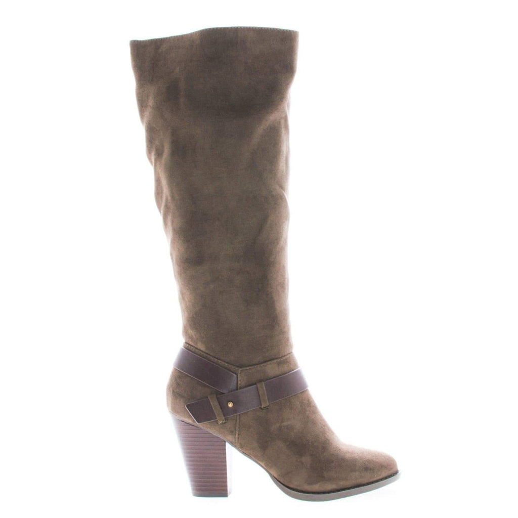 Elfin Taupe By Delicious, Knee High Almond Toe Ankle Strap High Block Heel Riding Boots
