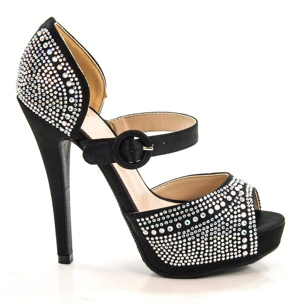 Expect By Delicious, Satin Rhinestone Encrusted Evening Dress Peep-Toe Stilettos New
