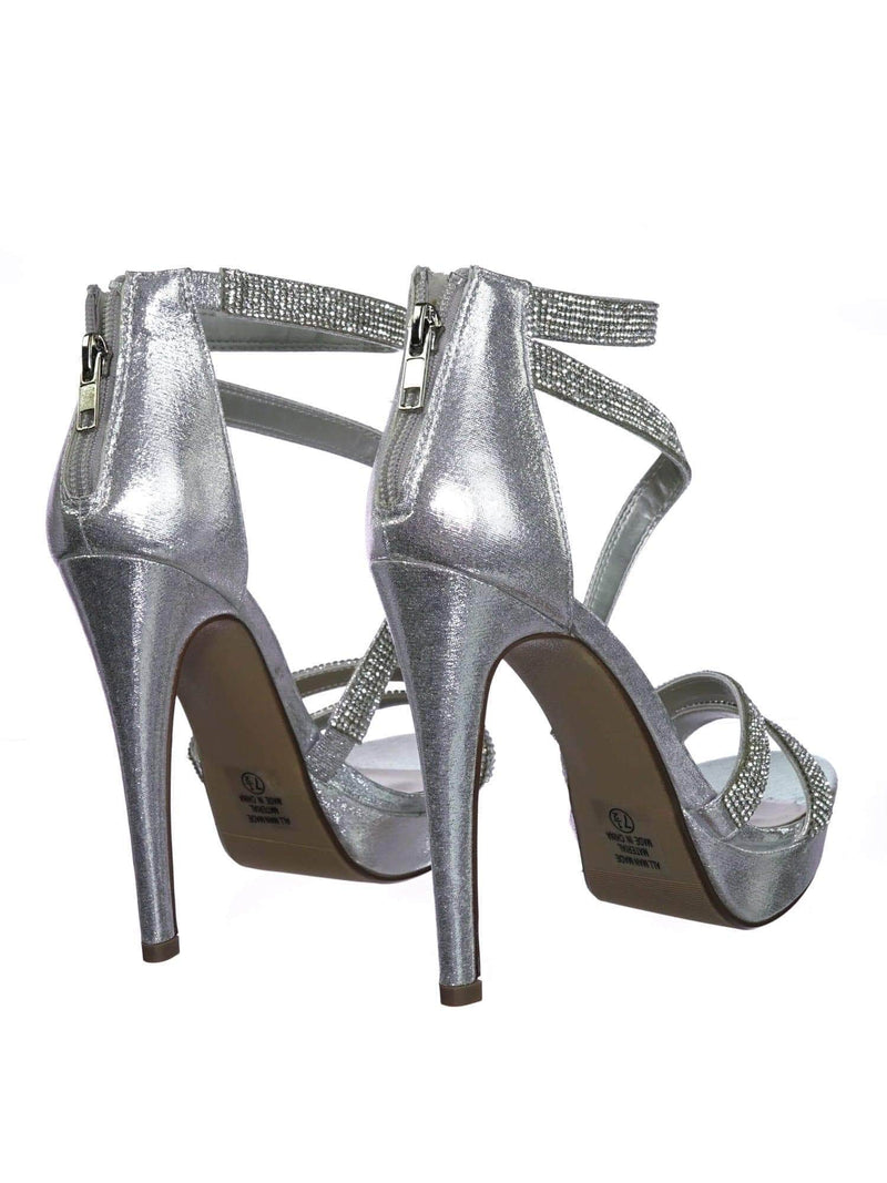 Flavor SlvShm Rhinestone Crystal Embellished Evening High Heel Dress Sandal
