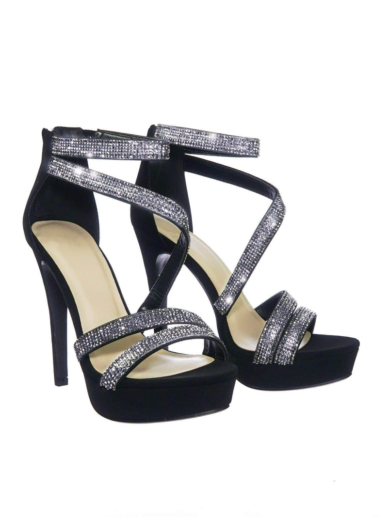 Flavor BlkNbPu Rhinestone Crystal Embellished Evening High Heel Dress Sandal