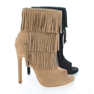 Gain Black By Delicious, Peep Toe Pleaded Fringe Zip Up Stiletto Heel Ankle Booties