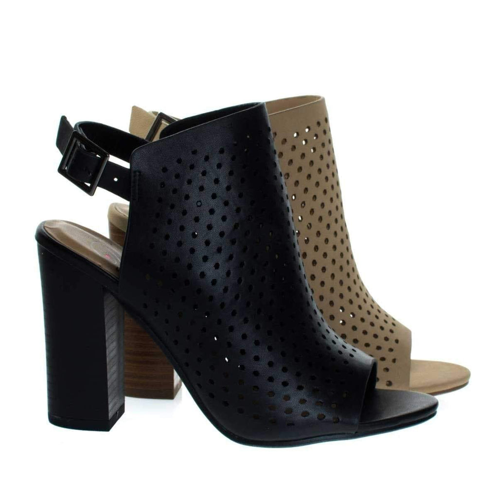 Gallery Chunky Block Stack Heel On Perforated Pin Hole Upper w Sling Back Strap