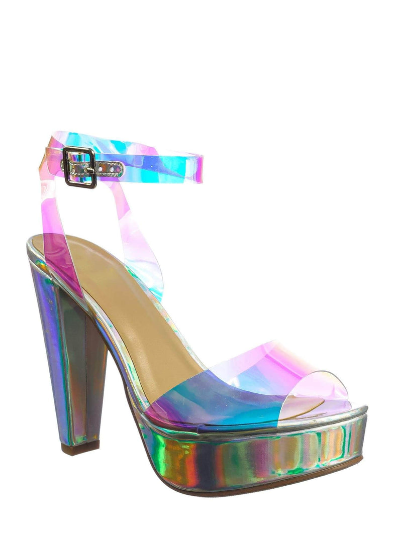 Iridescent Silver / Iridescent Silver / Gone Clear Lucite Heel Sandal - Womens Transparent  Ankle Strapped Platform Heel