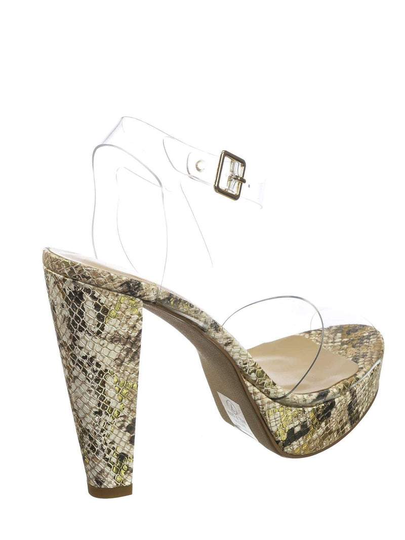 Taupe Python / Taupe Python / Gone Clear Lucite Heel Sandal - Womens Transparent  Ankle Strapped Platform Heel