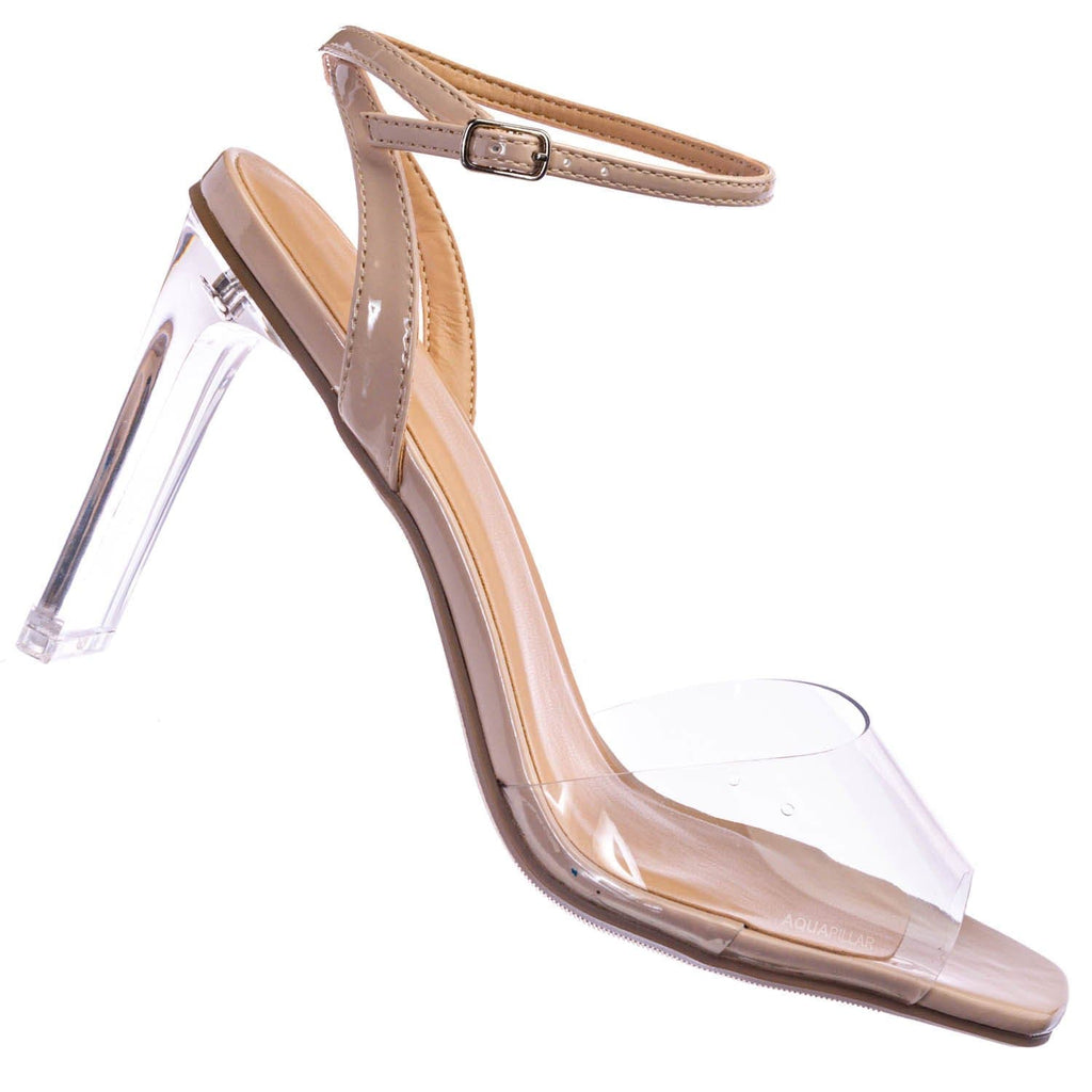 Nude Beige / Illumi Lucite Perspex Thin Ankle Strap Heels - Womens Transparent Open Toe Shoes