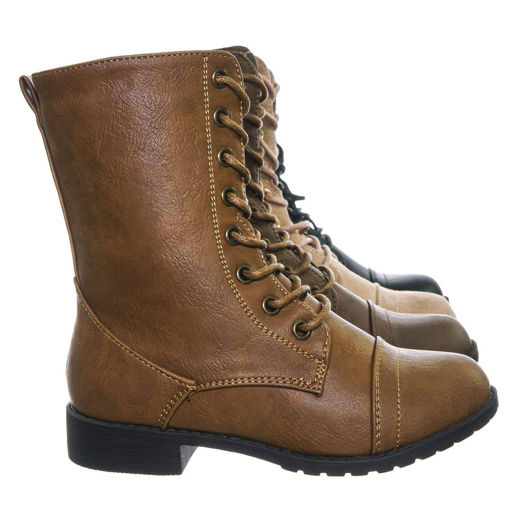 Tan Brown / Jalen88K Tan Brown Children Military Combat Boots - Kids Girls Lug Sole Tactical Jungle