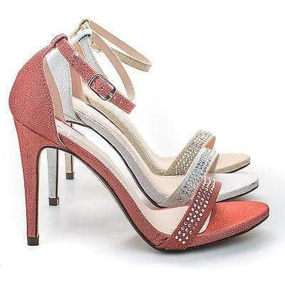 Jayvee Coral By Delicious, Rhinestone Crystal Encrusted Satin Sandal, Women Evening Shoes