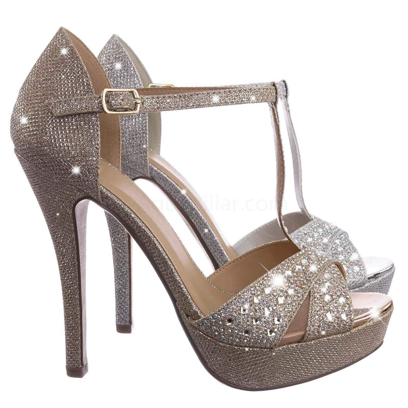 Penny Gold / Jenice PennyShm Rhinestone Crystal Glitter Sandal - Women Evening Shimmering Dance Shoes