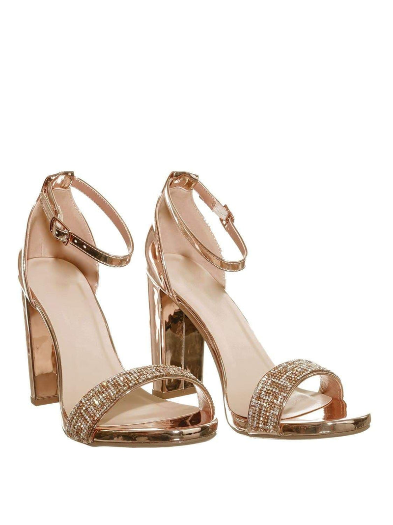 Penny Gold / Laser Penny Rhinestone Crystal Block Heel - Women Evening Shimmering Dress Sandal