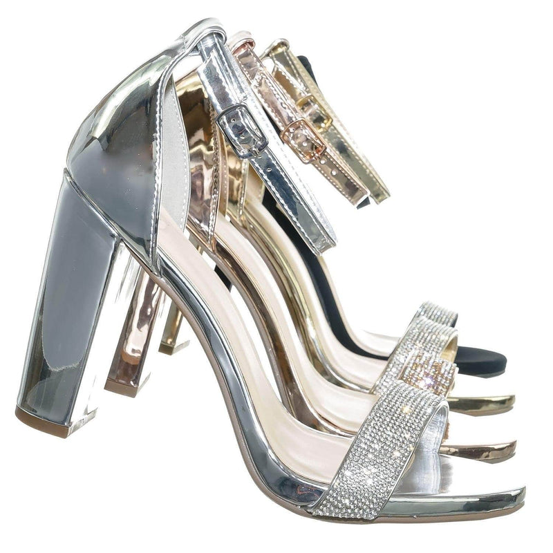 Silver Pu / Laser Silver Rhinestone Crystal Block Heel - Women Evening Shimmering Dress Sandal