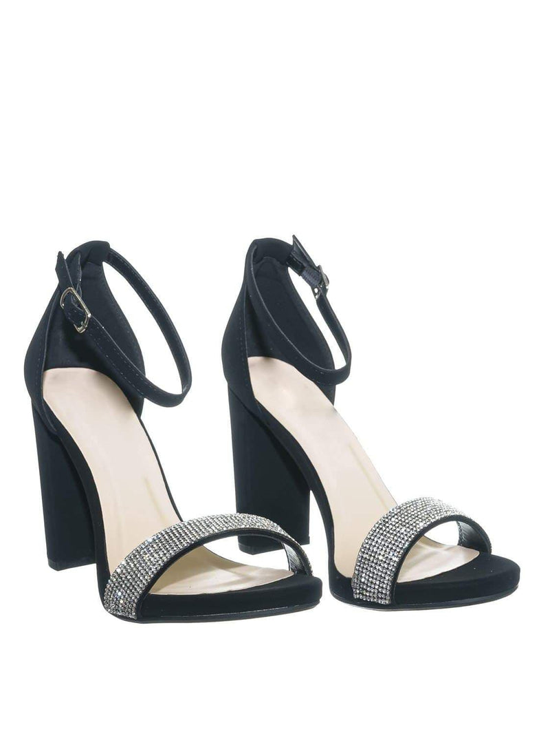 Black Nubuck / Laser BlackNbPu Rhinestone Crystal Block Heel - Women Evening Shimmering Dress Sandal