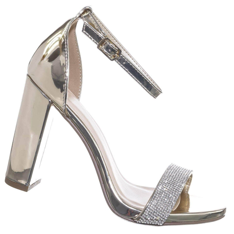 Light Gold / Laser LtGold Rhinestone Crystal Block Heel - Women Evening Shimmering Dress Sandal