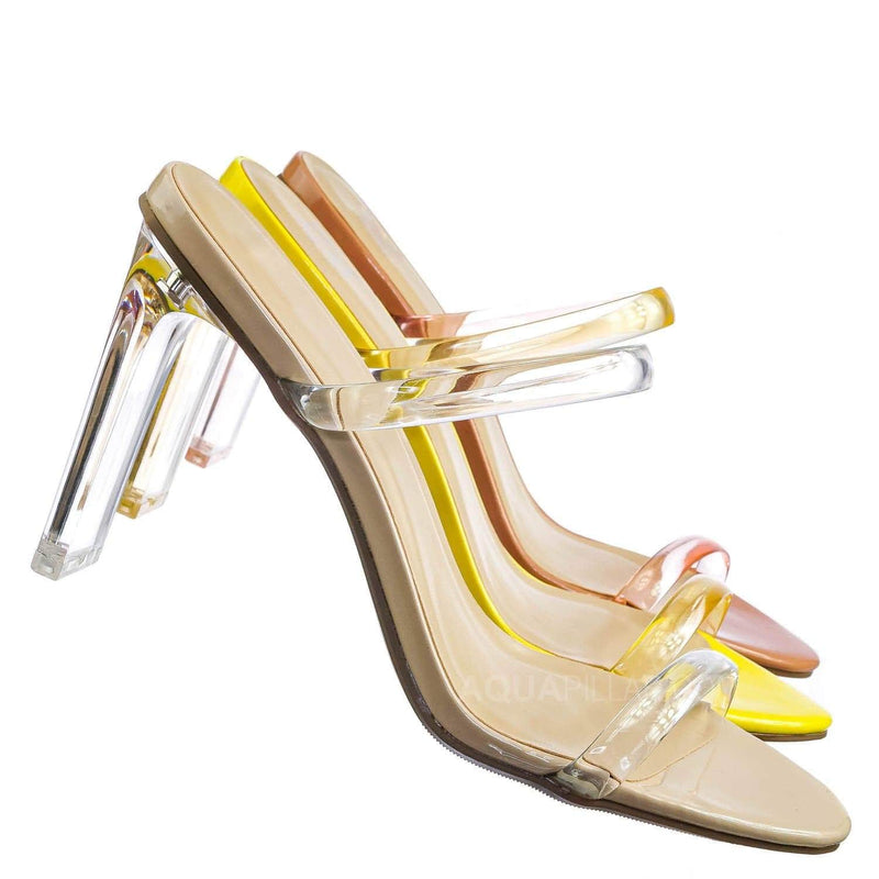 Beige Clear / Linger Lucite Transparent Acrylic Heel Sandal - Womens Clear Double Strap Shoes