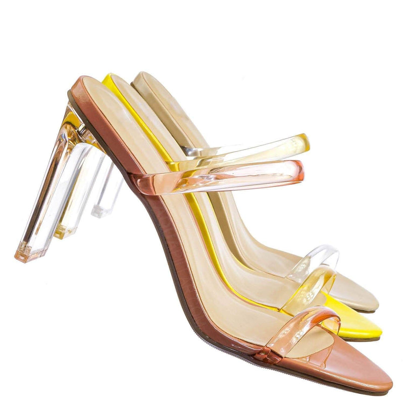 Linger Lucite Transparent Acrylic Heel Sandal - Womens Clear Double Strap Shoes
