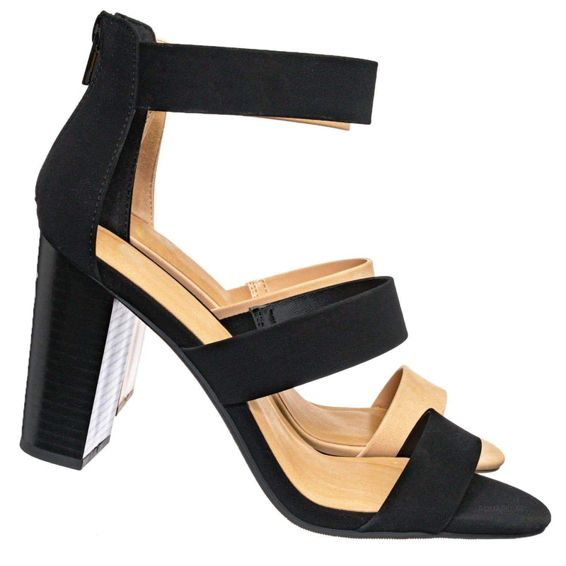 Nutmeg Dressy Ankle High Heel Sandal - Womens 3 Strap Open Toe Chunky Block Shoe