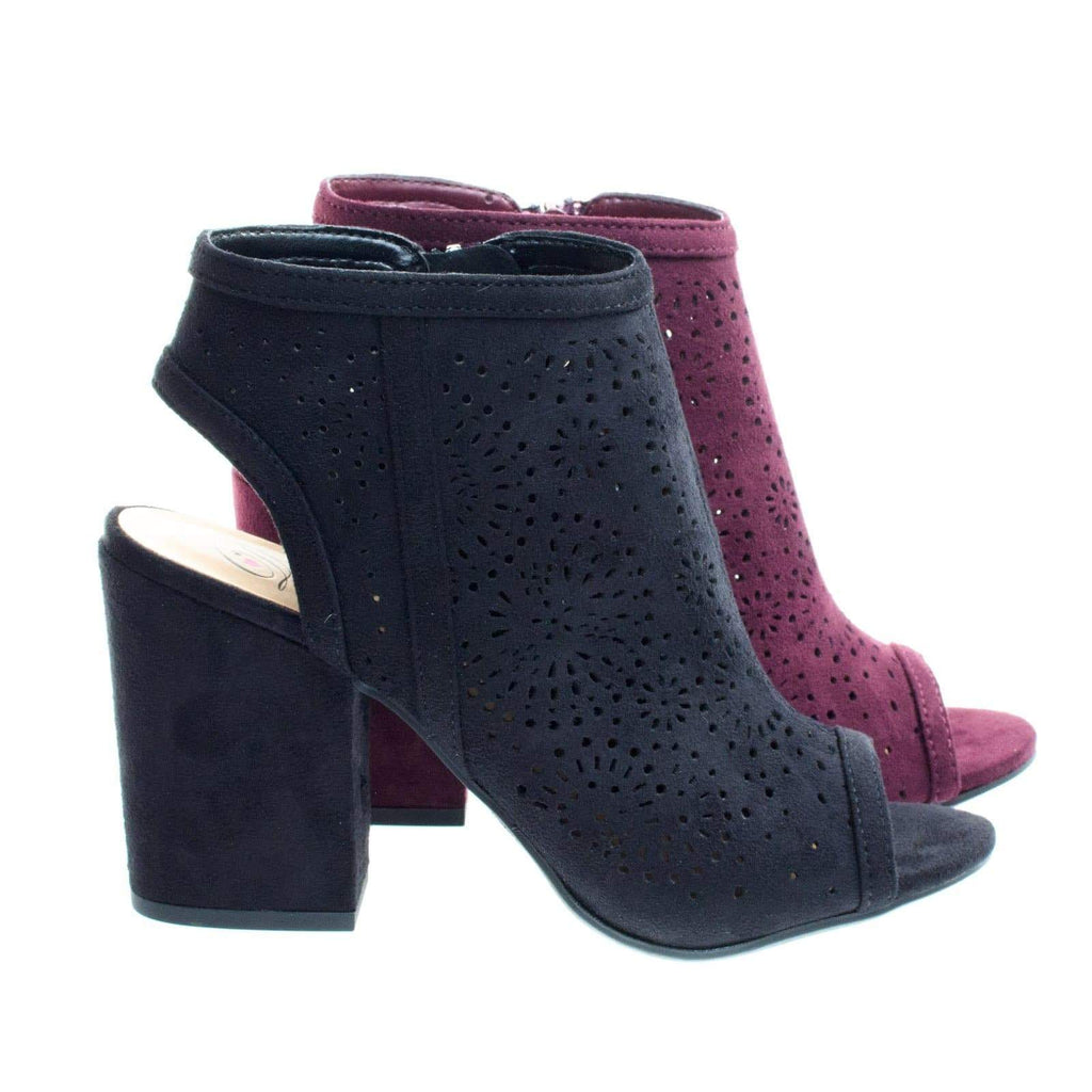 Parking Perforated Chunky Block Heel Sandal Bootie w Sling Back & Peep Toe