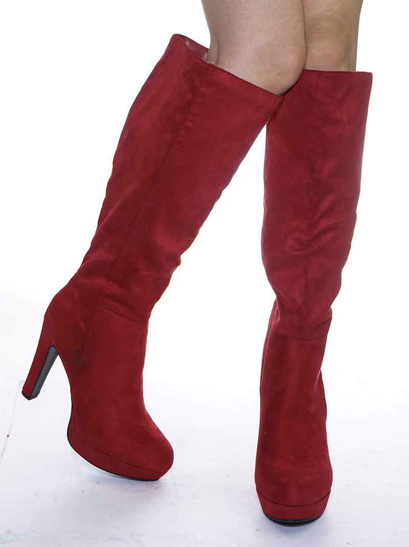 Rhythm Brick Red Knee High Dress Boots - Women Thick High Over Knee Heel Platform