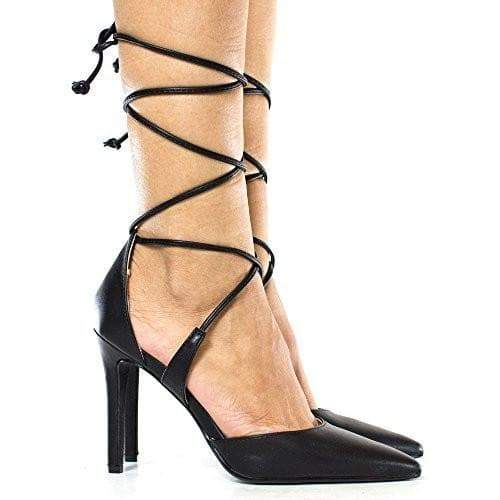 Rooth By Delicious, D'Orsay Ankle Wrap Around Stiletto High Heel Pumps