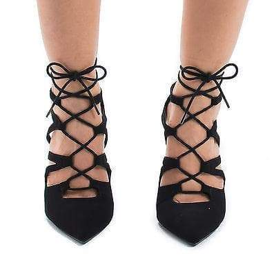 Stream Black By Delicious, Pointy Toe Corset Lace Up Leg Wrap Stiletto Heel Pumps