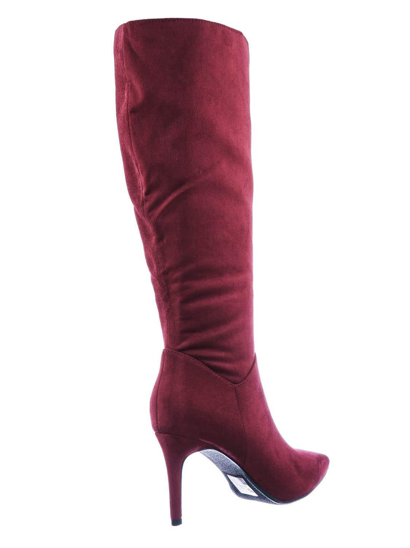 Burgundy Red / Tania High Heel Dress Boots - Women Pointed Toe Knee High Shafts