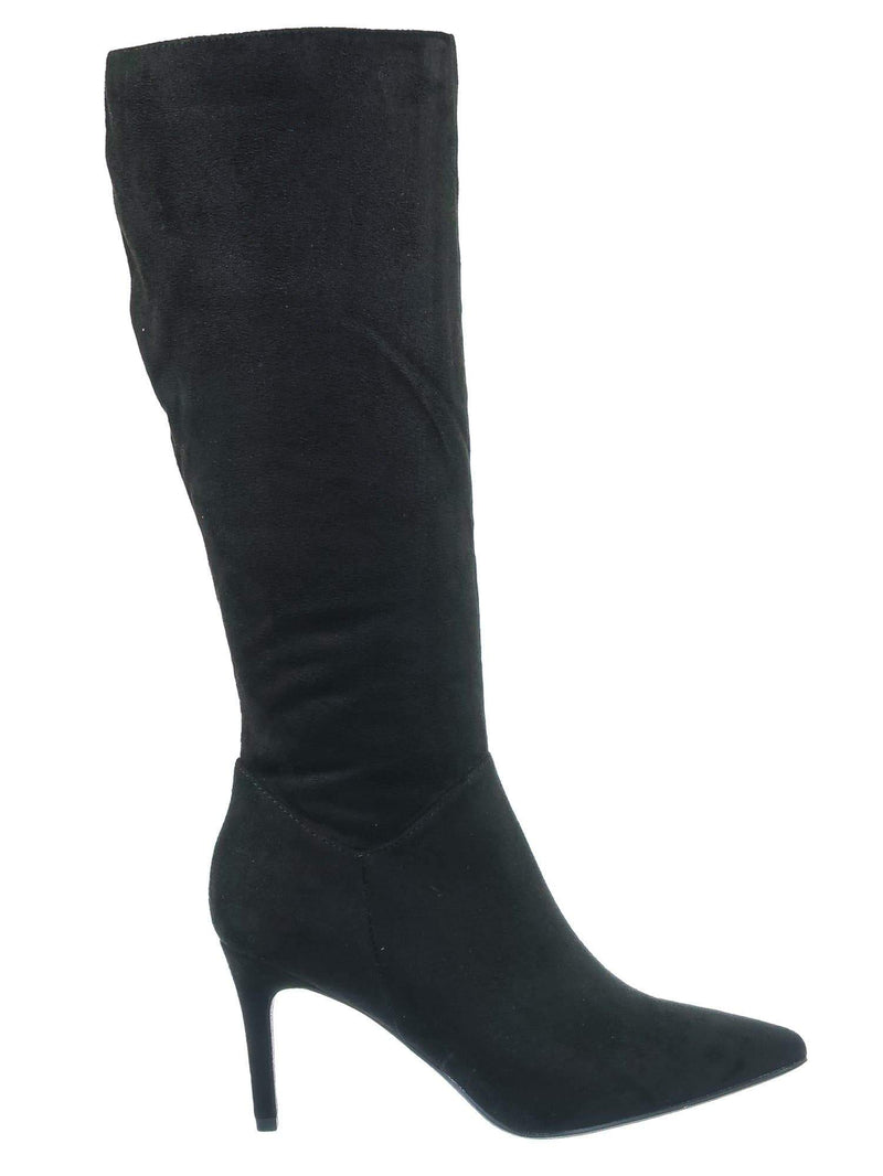 Black Fsuede / Tania High Heel Dress Boots - Women Pointed Toe Knee High Shafts